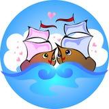 Barcos de amor ilustração stock