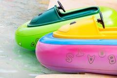Barcos de borracha na lagoa Imagem de Stock