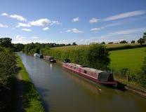 Barcos de canal no campo inglês Fotografia de Stock