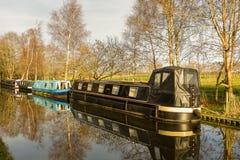 Barcos de casa do canal Foto de Stock Royalty Free