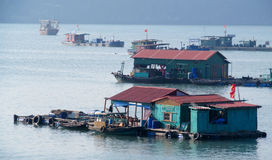 Barcos de casa na baía longa do Ha perto da ilha de Cat Ba, Vietname Foto de Stock Royalty Free