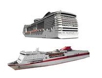 Barcos de cruceros aislados Imagen de archivo libre de regalías