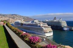 Barcos de cruceros en Funchal, Madeira imagen de archivo libre de regalías