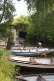 Barcos de enfileiramento amarrados no castelo de ross Imagem de Stock