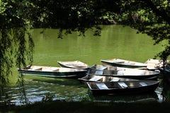 Barcos de fila en el parque Imágenes de archivo libres de regalías