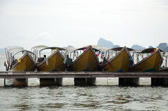 Barcos de fila en Tailandia Foto de archivo libre de regalías