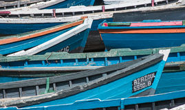 Barcos de Fisching alineados Imagen de archivo libre de regalías