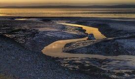Barcos de la marea baja de la puesta del sol del mar de Clevedon Fotos de archivo libres de regalías