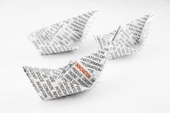 Barcos de la papiroflexia, idea de la innovación Foto de archivo libre de regalías