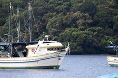 Barcos de la pesca y del turismo anclados en el muelle en diversos tamaños y colores en la costa de São Pablo foto de archivo
