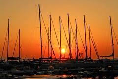 Barcos de la puesta del sol Foto de archivo