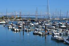 Barcos de la reconstrucción en puerto deportivo del río de Mondego Fotos de archivo libres de regalías