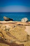 Barcos de la red y del pescador de pesca Foto de archivo libre de regalías