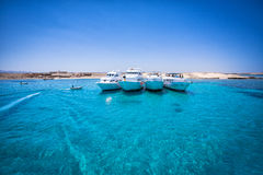 Barcos de la velocidad en el mar tropical Fotografía de archivo libre de regalías