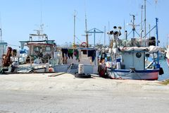 Barcos de los pescadores en Marsaxlokk, Malta Fotografía de archivo