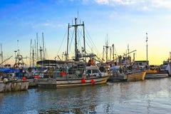 Barcos de los pescados en Richmond, Canadá Imágenes de archivo libres de regalías