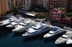 Barcos de lujo en Monte Carlo Fotografía de archivo libre de regalías