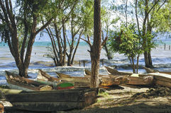 Barcos de madeira do pescador fotos de stock royalty free