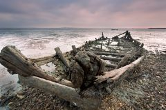 Barcos de madeira rejeitados Fotografia de Stock Royalty Free