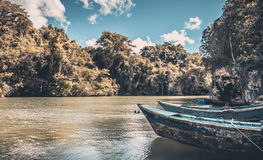 Barcos de madera azules Imagen de archivo libre de regalías