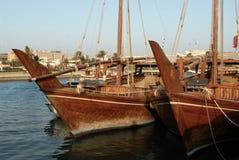 Barcos de madera en Qatar Imagen de archivo libre de regalías