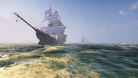 Barcos de madera medievales en el mar en un día soleado Piratas que navegan abajo del mar en una nave representación 3d stock de ilustración