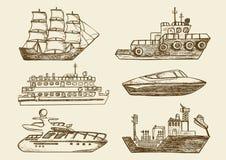 Barcos de mar tirados mão, navios de passageiro ilustração royalty free