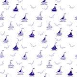Barcos de navegación y gaviotas modelo inconsútil, materia textil, diseño superficial ilustración del vector