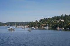 Barcos de navigação em Puget Sound imagem de stock royalty free