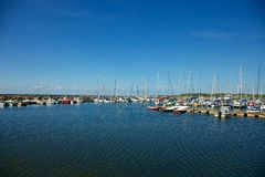 Barcos de navigação no porto, Bornholm Fotografia de Stock Royalty Free