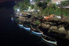Barcos de noche Imagen de archivo