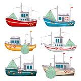 Barcos de pesca ajustados ilustração royalty free