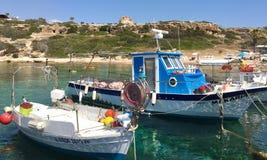 Barcos de pesca amarrados Imagem de Stock Royalty Free