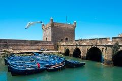 Barcos de pesca amarrados no essaouira, Marrocos Fotografia de Stock Royalty Free