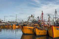 Barcos de pesca anaranjados en marzo del Plata, la Argentina Fotos de archivo libres de regalías