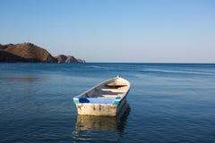 Barcos de pesca ancorados na baía de Taganga Fotos de Stock