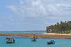 Barcos de pesca asegurados en una bahía Foto de archivo libre de regalías