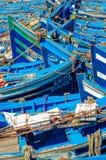 Barcos de pesca azules Imagen de archivo libre de regalías