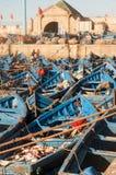 Barcos de pesca azules Fotos de archivo