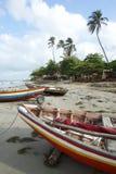 Barcos de pesca coloridos Jericoacoara de Jangada do brasileiro imagens de stock royalty free