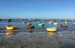 Barcos de pesca coloridos na praia em Vietname do sul Imagem de Stock Royalty Free