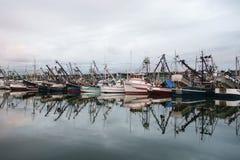 Barcos de pesca comercial no alvorecer Imagens de Stock