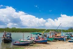 Barcos de pesca da província de Prachuap de Tailândia Imagem de Stock