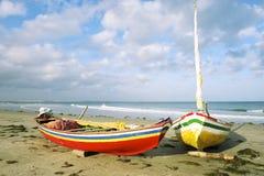 Barcos de pesca de Jangada del brasileño Jericoacoara Imagen de archivo