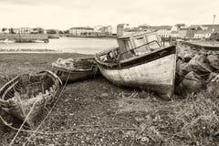 Barcos de pesca de madeira velhos Fotografia de Stock Royalty Free
