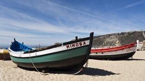 Barcos de pesca de Nazare fotografia de stock