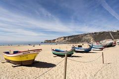 Barcos de pesca de Nazare fotos de stock royalty free