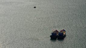 Barcos de pesca do calamar, Da Nang, Vietname foto de stock