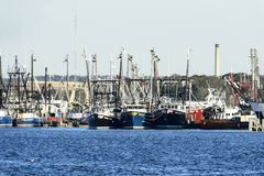 Barcos de pesca Docked en Fairhaven imagen de archivo