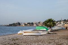 Barcos de pesca em Altea fotos de stock